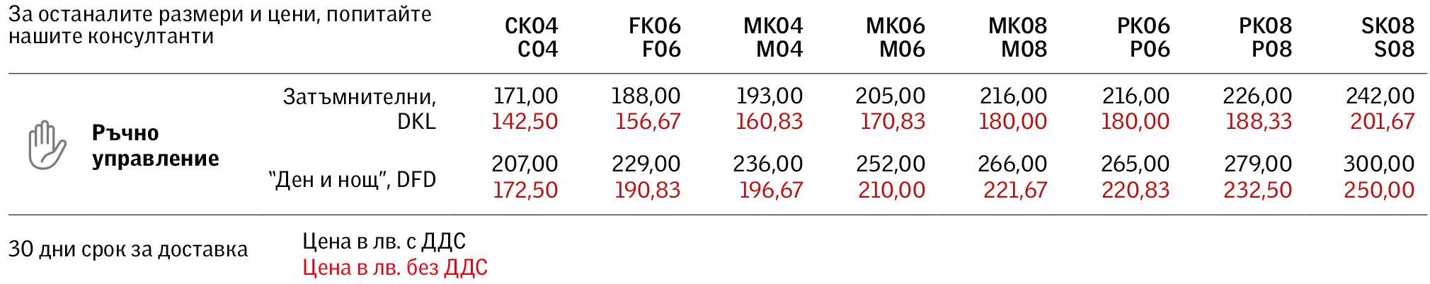 Цени на затъмнителни щори DKL